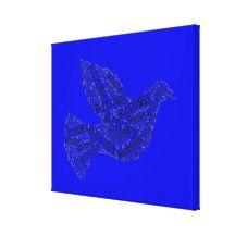 Blessings Dove, Inspirational Canvas Neon Dark Blue Canvas Print