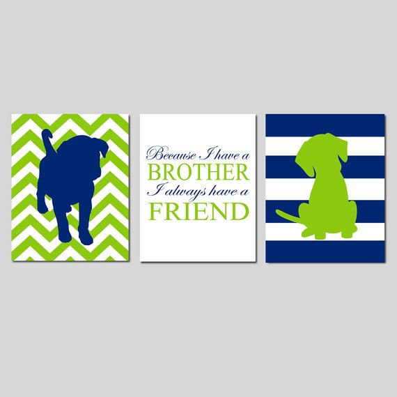 Twin Boy Nursery Art  Set of Three 8x10 Prints  Chevron by Tessyla