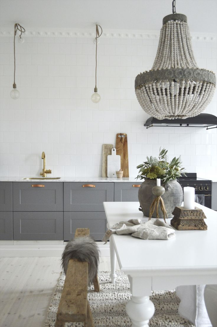 my scandinavian home: grey and white kitchen in the serene home of Swedish interior stylist Denice Lindell.