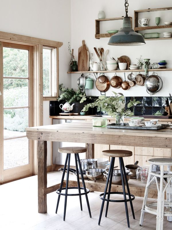 kitchen with lots of green and natural wood - Tamsin Carvan and Family — The Design Files