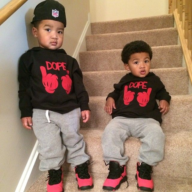 Mixed boys in urban wear. My future son will switch it up too.