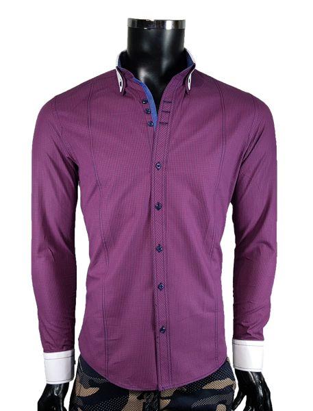 Koszula męska slim - bordowy - Koszule męskie - Awii, Odzież męska, Ubrania męskie, Dla mężczyzn, Sklep internetowy