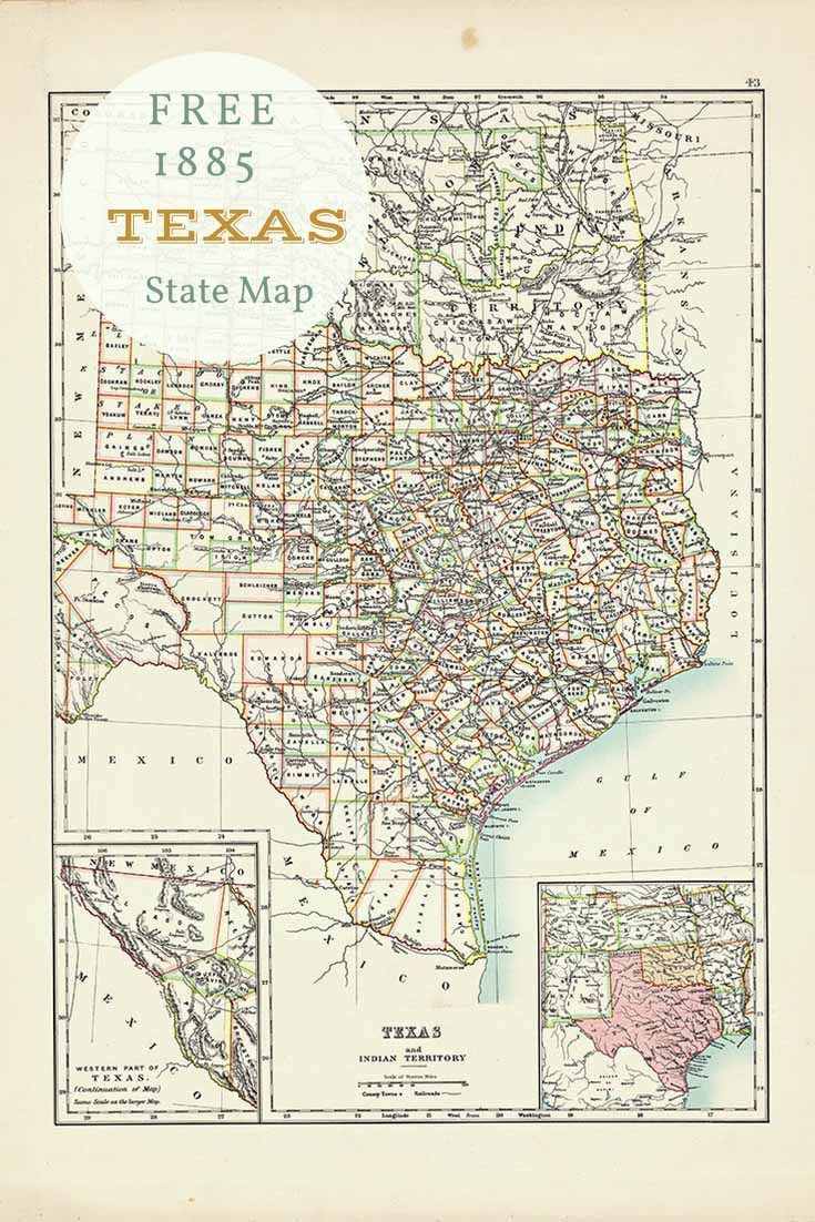 Free printable old map of Texas from 1885. #map #usa | Free ...