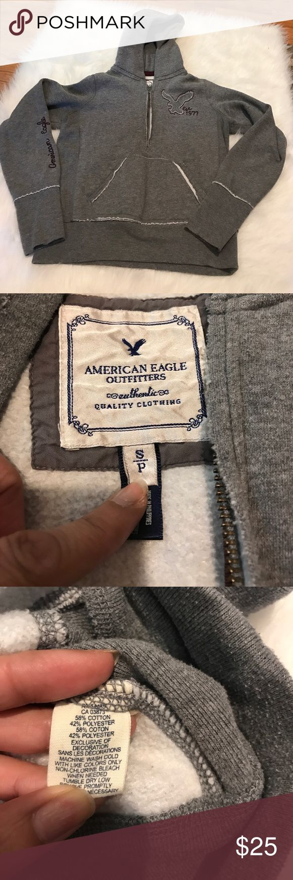 AMERICAN EAGLE OUTFITTERS HOODED PULLOVER Cute and great for those outdoor barbecues and parties. Good pre-owned condition, with some snags to the outside of both pockets, front of hood, end of sleeves, and bottom, see pics# 4,5,6&7. 0172221400 American Eagle Outfitters Tops Sweatshirts & Hoodies