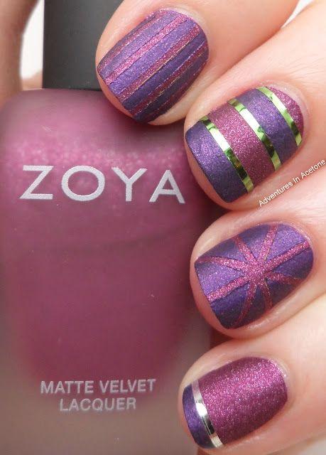 striping tape mani: Matte Nails, Nails Art, Nailart, Nails Design, Color, Nailpolish, Naildesign, Purple Nails, Nails Polish