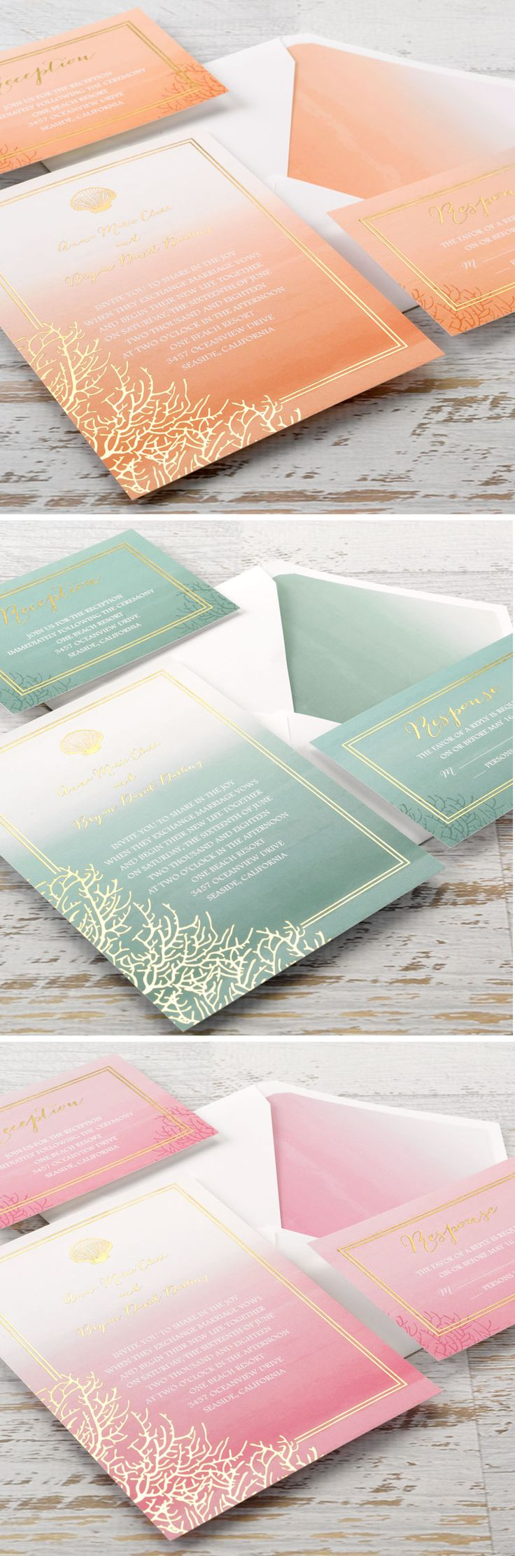 Foil-stamped beach theme wedding invitations from Colin Cowie. #coral #seashell #destinationwedding