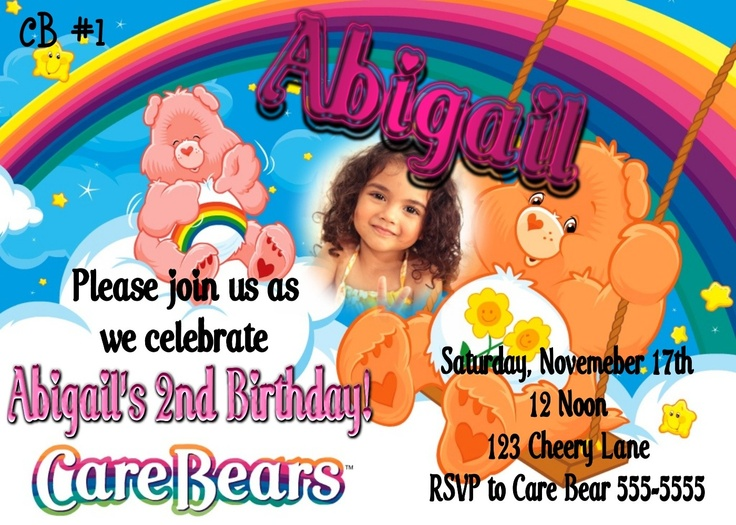 53 best Care Bear Invitations images – Care Bear Birthday Invitations