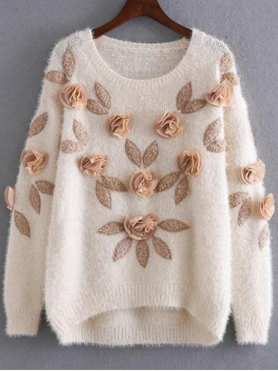 Applique Mohair Sweater - APRICOT ONE SIZE Mobile