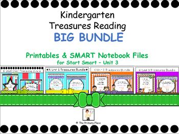 The Kindergarten Treasures Reading BIG Bundle (Smart Start Unit - Unit 3) was created by The Primary Place. The printables and SMART Notebook files for each of these units is included. There are 746 pages total. Please ensure that you are able to use SMART Notebook 11 prior to purchasing this product.This package was designed for the 2011 Treasures Edition.