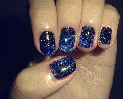 galaxy nailsNails Art, Starry Night, Nailpolish, Outer Space, Nails Polish, Galaxy Nails, Night Sky, Blue Nails, Galaxies Nails