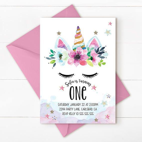 Unicorn birthday invitation unicorn invitation magical