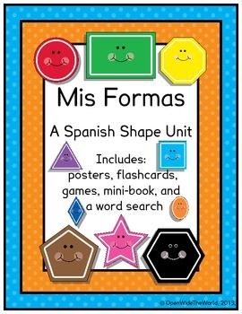 Perfect for Spanish Dual Language / Language Immersion programs, this packet has NO English on student pages!  Colorful Spanish shapes vocabulary unit includes: posters, games, flashcards, mini-book, and a word search with answer key!