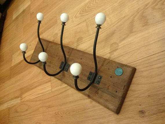 Wooden rustic coat rack - with Men's dept Pure Luck 1357 Emblem