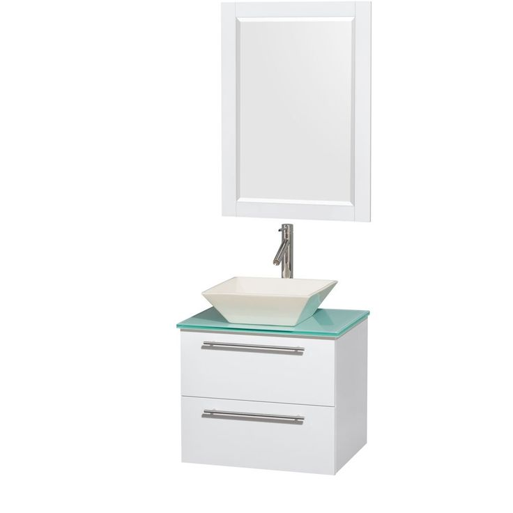 Photo Album Gallery Wyndham Collection Amare inch Single Vanity in Glossy White with Green Glass Countertop inch Mirror Glossy White GRN Glass Top Pyra WHT Sink Mrr