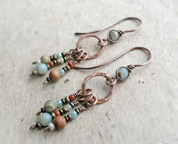 Copper Long Dangle Earrings Aqua Terra Jasper African Blue Opal Wire Wrapped Brass Sterling Silver Heart Chakra Rustic Boho Earthy (18.49 GBP) by JustynaSart