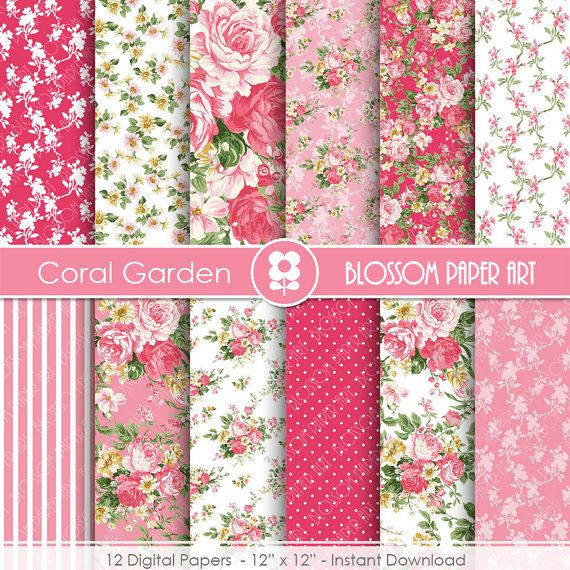 Flora Digital Paper, Coral Roses Shabby Chic Digital Paper Pack, Coral Roses, Scrapbooking, Roses - INSTANT DOWNLOAD  - 1926