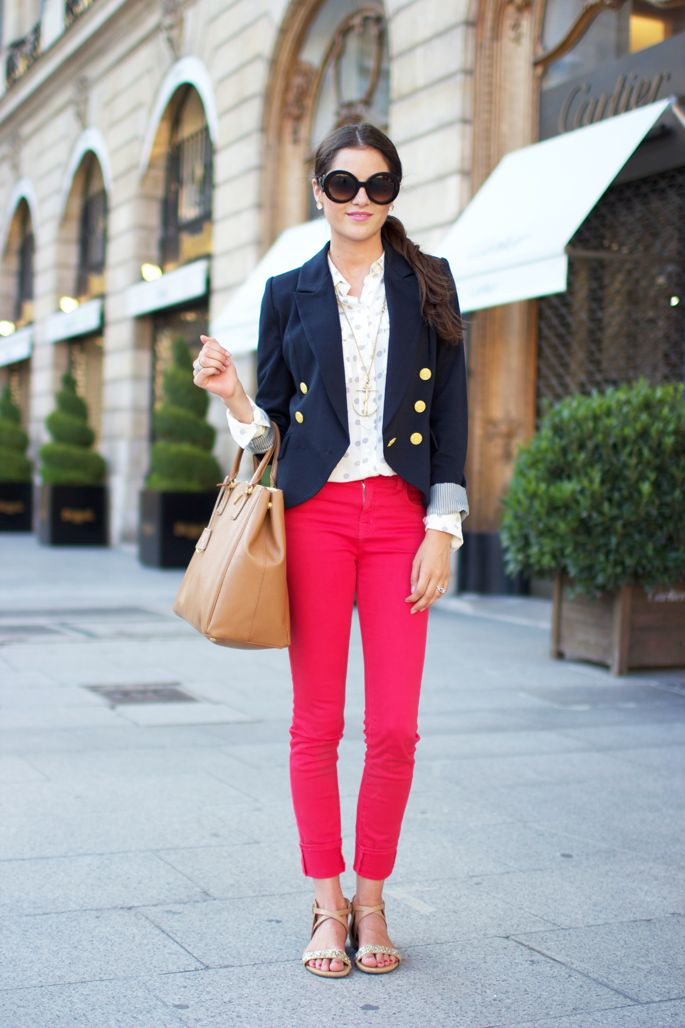 Pink Peonies by Rach Parcell | A Personal Style, Beauty & Home Blog | Page 138: Outfits, Fashion Style, Clothes, Street Style, Pink Pants, Blazers, Red Pants