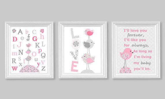 Gray and Pink Nursery birds I'll Love You by SweetPeaNurseryArt