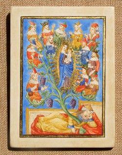 """""""Arbre de Jessé"""", France - XVème siècle La Vierge Marie tenant l'enfant Jésus est entourée de l'arbre généalogique du Christ, figuré par une vigne qui prend ses racines dans l'initiateur de la lignée, Jessé. On reconnaît parmi les ancêtres David, à droite de Marie, avec sa harpe."""