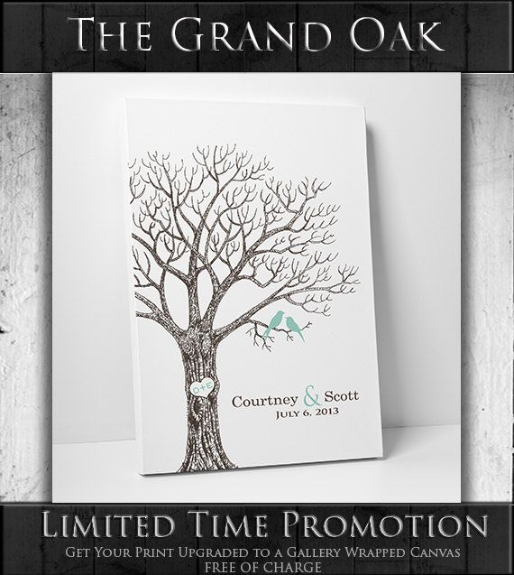 Wedding Tree Guest Book // Custom Wedding Guest Book // Guest Book Alternative // Canvas Fits 25-350 Fingerprints // Many Sizes Available on Etsy, $29.00