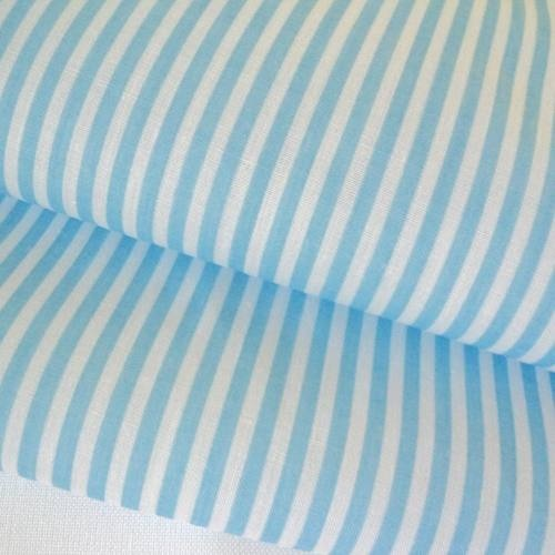BLUE STRIPE LAWN COTTON POLY FABRIC PER M | eBay
