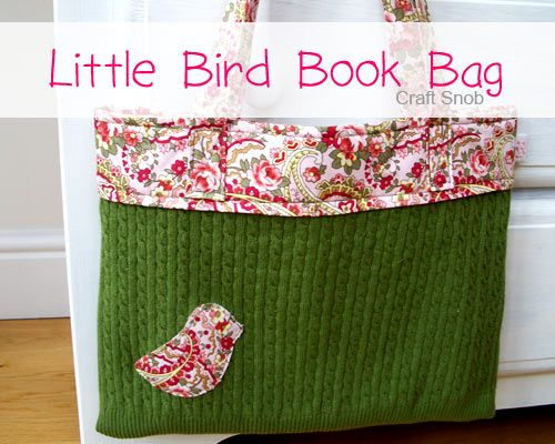 sew a toteRecycle Sweaters, Birds Book, Crafts Ideas, Book Bags, Bags Tutorials, Little Birds, Totes Bags, Recycled Sweaters, Sewing Machine