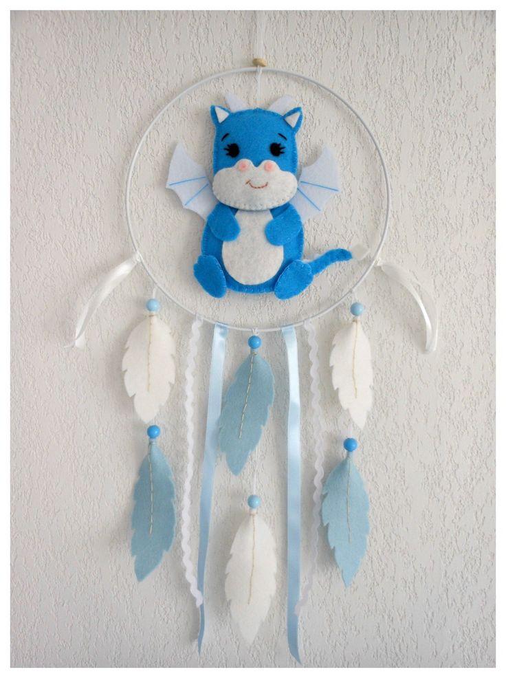 Attrape-rêves Dragon bleu pour décoration chambre de bébé ou d'enfant Idée cadeau naissance baptême anniversaire : Chambre d'enfant, de bébé par histoire-de-pitchouns