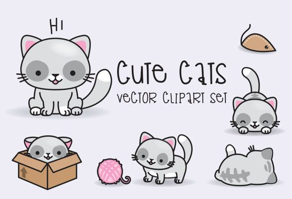 Premium Vector Clipart - Kawaii Cats - Cute Cats Clipart Set - High Quality Vectors - Instant Download - Kawaii Clipart