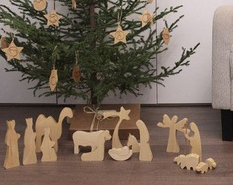 Moderne houten kerststal - GEOLIED houten geboorte geboorte ingesteld Nativity scene Nativity cijfers geboorte silhouet