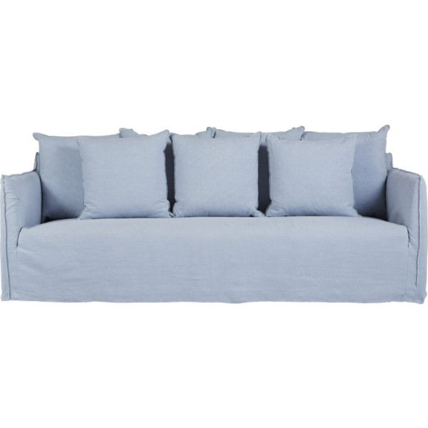 Elegant Modern Designer Slipcover Sofa  Light Blue Italian Linen ❤ Liked On  Polyvore Featuring Home,