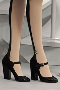Chanel two tone tights