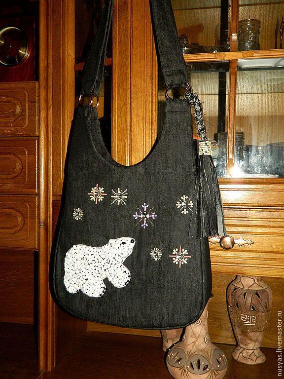 """Купить Сумка """"Большая Медведица"""" - черный, рисунок, Большая медведица, Сумка с вышивкой, джинсовая сумка"""