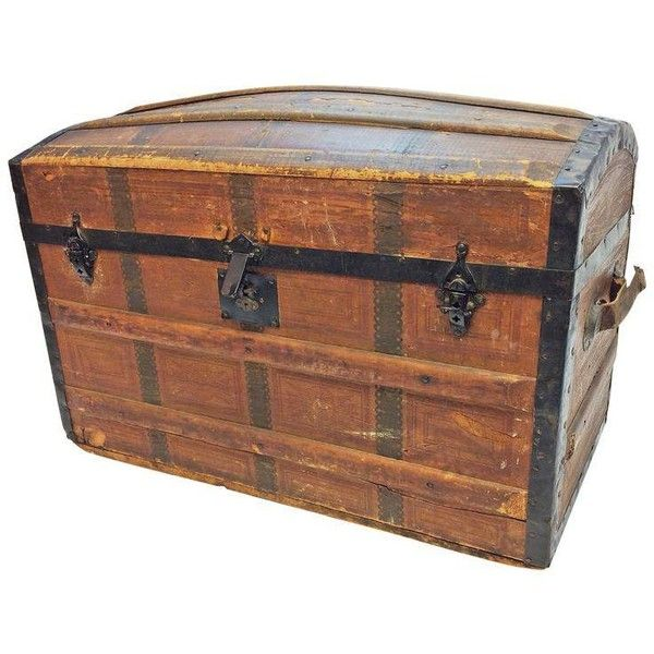 Vintage Victorian Wood Camelback Steamer Trunk ($175) ❤ liked on Polyvore featuring home, home decor, small item storage, baskets, wooden home accessories, wooden home decor, wood steamer trunk, wood trunk and wooden steamer trunk
