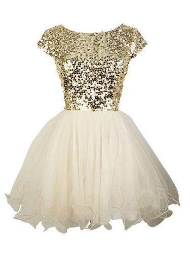 Glittery gold topped dress with white tulle skirt! Forget about prom dress I want this for a wedding shower!