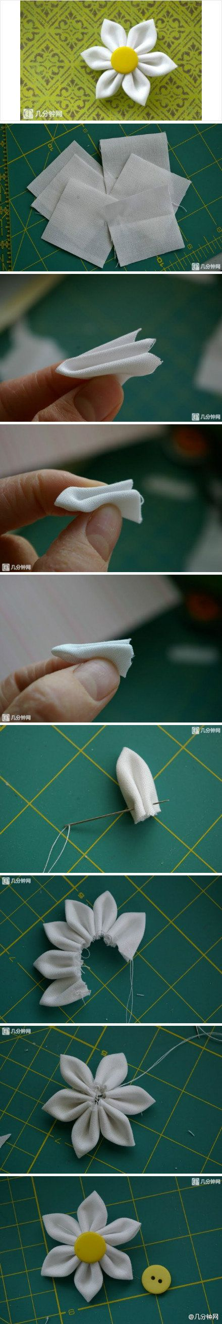 DIY Simple Fabric Flower - make some to put on the baby headbands.