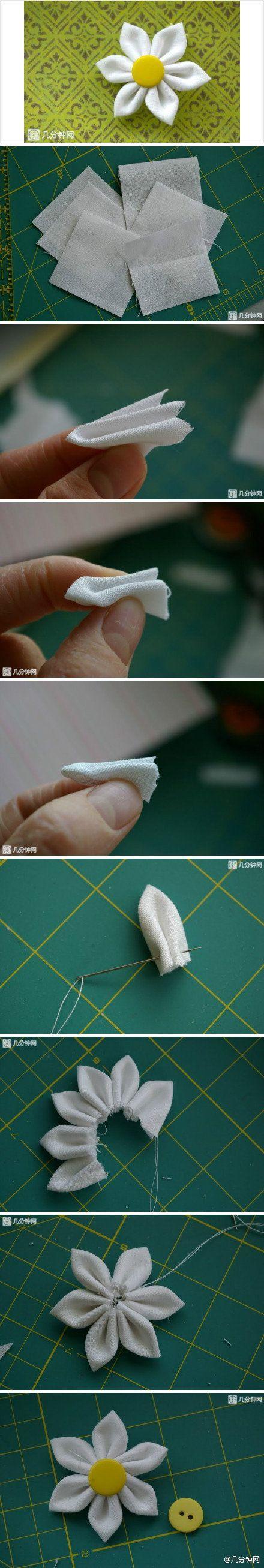 DIY Simple Fabric Flower http://www.usefuldiy.com/diy-simple-fabric-flower/