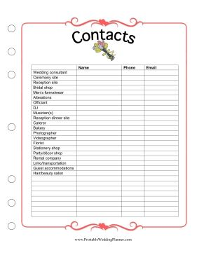 With so many names and numbers to keep track of, you will be glad you have the Wedding Planner Contacts form. Free to download and print