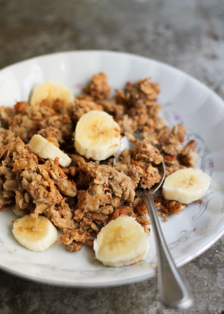A healthy make-ahead power breakfast: Peanut Butter Banana Baked Oatmeal to help start your day off right. Just reheat and eat! Packed with chia seeds. for omega 3s and extra fiber.