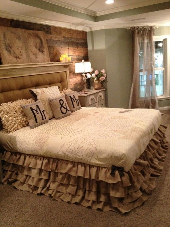 Country Bedroom with Ruffled Valance & Wood Wall Love the wall behind the headboard