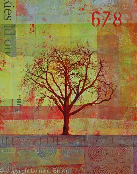 Winter Tree #4 - Mixed Media Collage