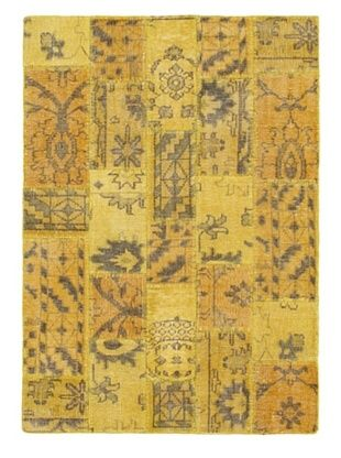 -21,200% OFF Hand-Knotted Ushak Patch Wool Rug, Gold, 4' 7