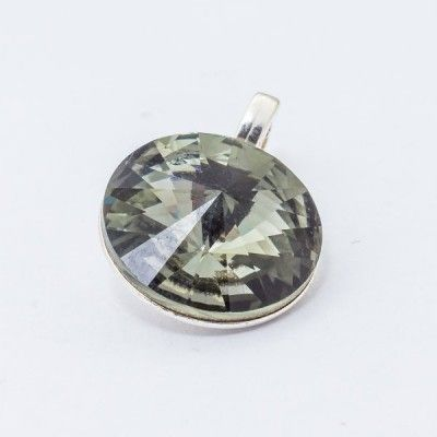 Swarovski Rivoli Pendant 12mm Silver Night  Dimensions: length: 1,7cm stone size: 12mm Weight ~ 1,40g ( 1 piece ) Metal : sterling silver ( AG-925) Stones: Swarovski Elements 1122 12mm Colour: Silver Night 1 package = 1 piece Price 12.90 PLN
