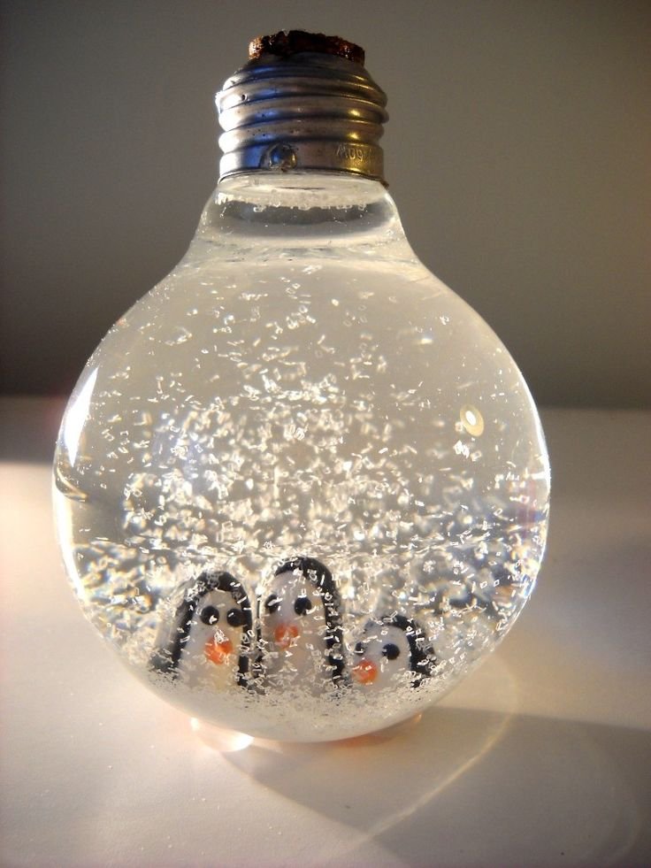 Winter Penguin Lightbulb Snowglobe.