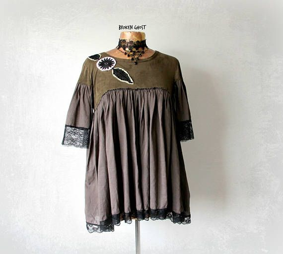 Rustic Clothing Loose Flowy Shirt Shabby Chic Top Boho Upcycled Green Smock Top Women's Lace Blouse Mori Girl Clothes Draped Tunic L 'NADINE
