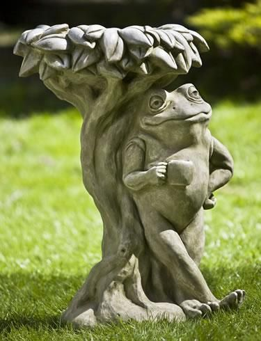 Break Time Birdbath, Standing With His Cup Of Coffee A Frog Leans Against  This Tree Shaped Birdbath Complete With A Leaf Top