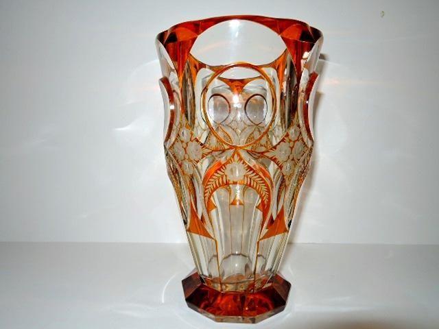 РЕДКОСТЬ!!! Ваза, медовое янтарное стекло гравировка R.Hlousek 1930гг. 25 см.