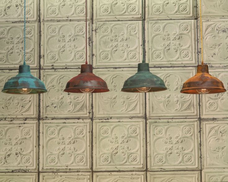 Industrial pendant with sulphur green finish