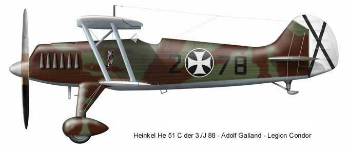 Heinkel He-51 Legion Condor, Spain. Spanish Civil War 1936-1939