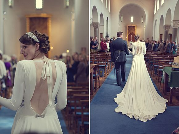 Stunning 1940's vintage dress on a stunning bride.  Check out this whole wedding.
