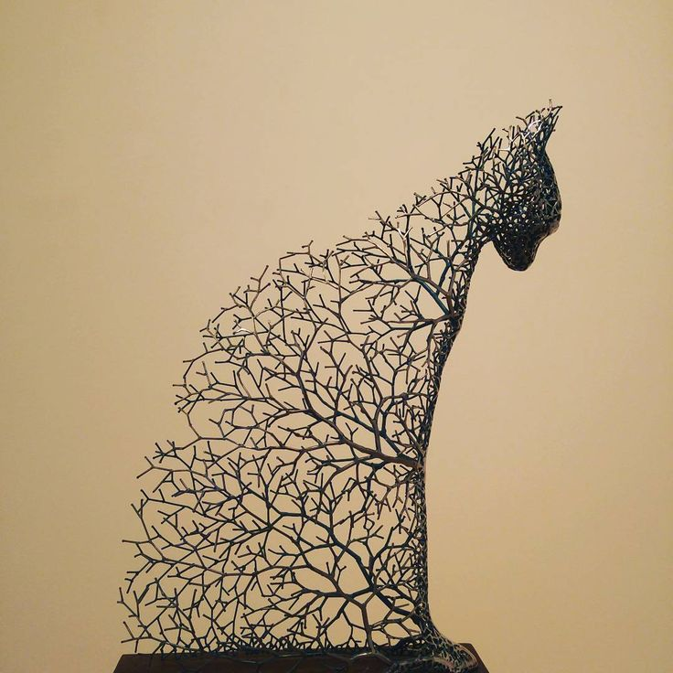 Artist Kang Dong Hyun Constructs Animal Sculptures From a Web of Metallic Twigs
